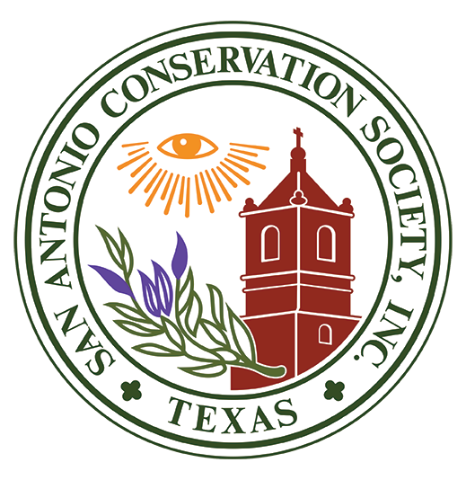 Color logo for the San Antonio Conservation Society, featuring all-seeing eye, wild olive branch, and mission tower