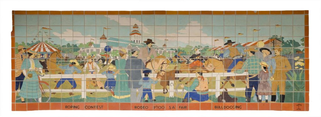 WPA tile mural at Alamo Stadium depicting a roping contest at a fairgrounds