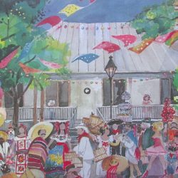 Watercolor poster showing Night in Old San Antonio opening parade past Dashiell House in La Villita.