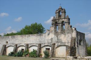 View of the front facade of the Mission San Juan church.