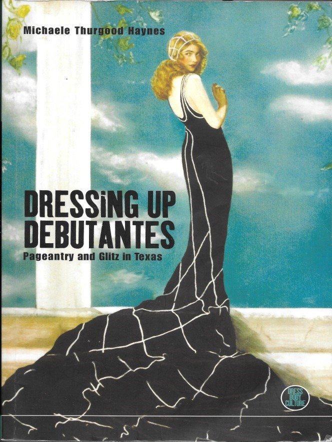 Book cover depicting a debutante in black dress with the title