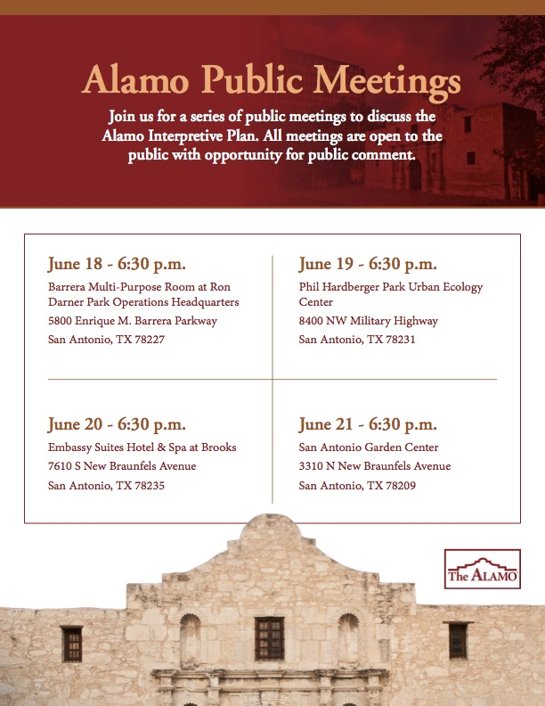 Schedule for Alamo Public Meetings, June 18-21, 2018