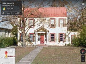Front facade of 705 E. Grayson; a Colonial Revival style house