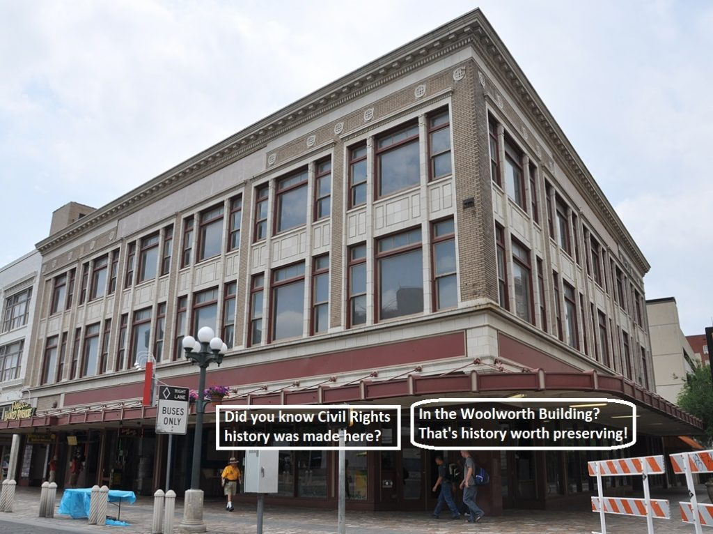 The Woolworth Building in Alamo Plaza played an imprtant role in local Civil Rights history.