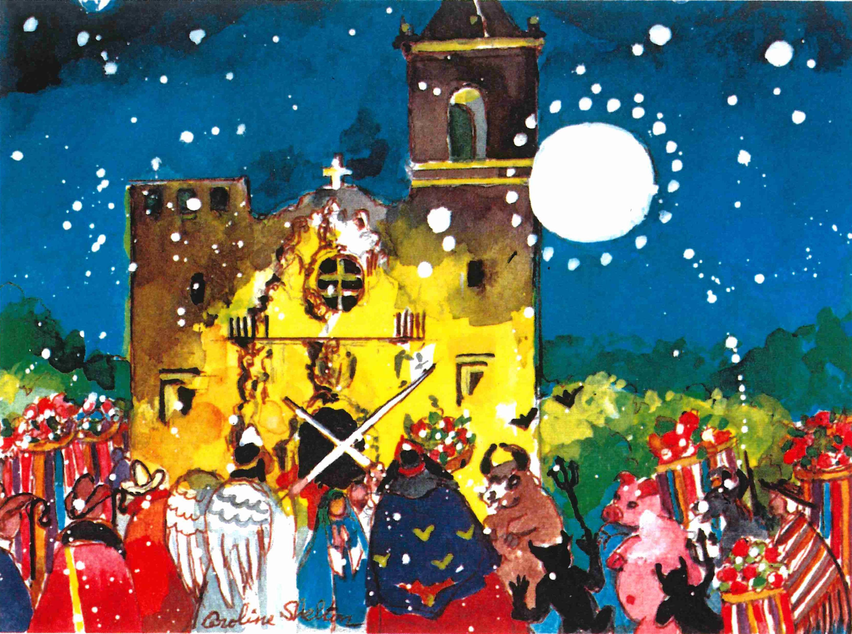 Watercolor image of Los Pastores in front of San Antonio Mission