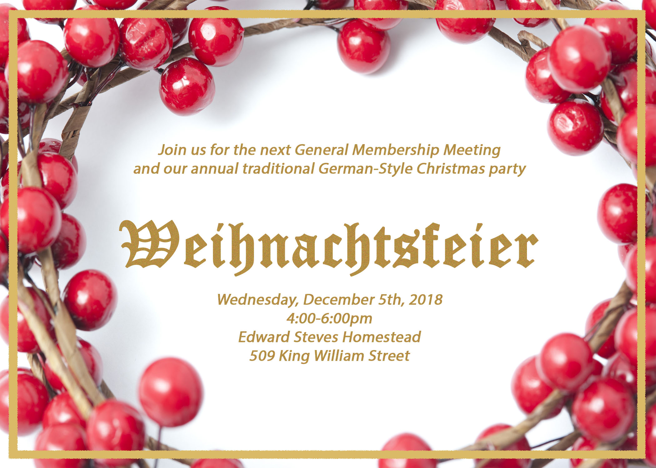 Join us for our annual general membership meeting and traditional German Christmas Party on December 2 from 4-6pm at the Steves Homnestead, located at 509 King William Street, San Antonio TX 78204