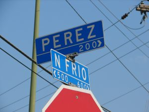 Street sign for 200 block of Perez Street