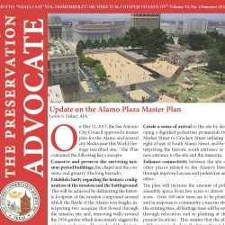 Front cover of summer 2017 newsletter showing rendering from Alamo Plaza Master Plan