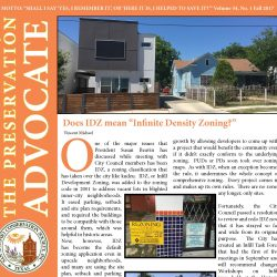 Front cover of Fall 2017 newsletter showing a modern house next to a historic one
