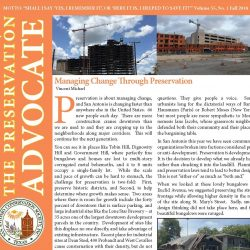 Front cover of Fall 2018 newsletter showing buildings under construction