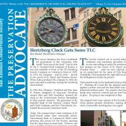 Front cover of summer newsleter showing repainting of Hertzberg Clock