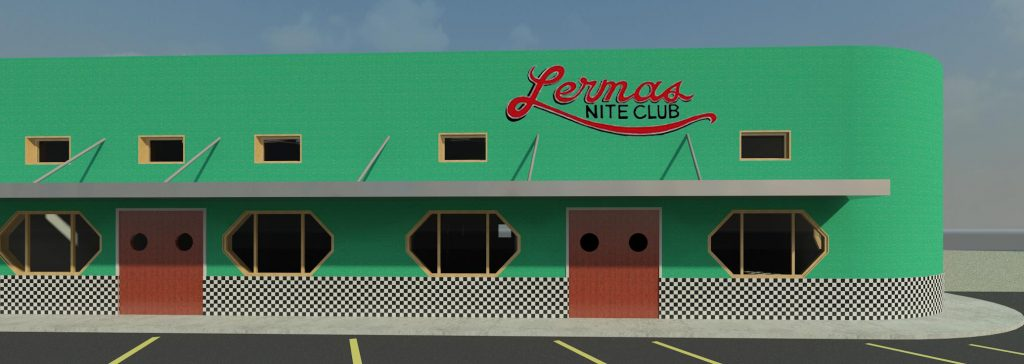 A 3-D color view of the front of a restored Lerma's Nite Club.