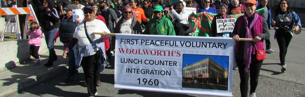 MLK Marchers carrying Woolworth banner