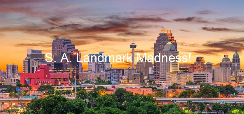 S.A. Landmarks Madness! title over San Antonio skyline.