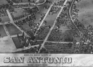 Close-up of houses, streets, and map title from 1873 bird's-eye view map of San Antonio, Texas