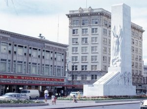 1966 photo of the Woolworth Building, Gibbs Building, and Alamo Cenotaph