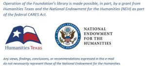 Credit for Humanities Texas and NEH grant support of the librarythe